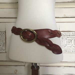 Vintage Braided Brown Leather Belt Small